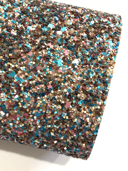 Matte Chunky Glitter Fabric Sheet in Pewter Aqua and Rosey Pink Gold
