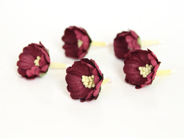 10 pcs Mulberry Paper Flowers - Wild Roses - Burgundy