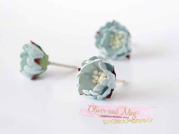 10 pcs Mulberry Paper Flowers - Wild Roses - Soft Blue