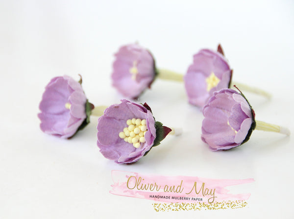 10 pcs Mulberry Paper Flowers - Wild Roses - Soft Lilac