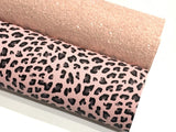 Pink Leopard Faux Leather Fabric