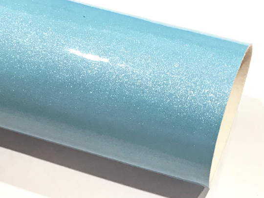 Baby Blue Gloss Glitter Patent Leather A4 Sheet Mirror Smooth Glitter PU Leatherette