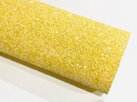 Belle Yellow Chunky Glitter Fabric Sheet A5 orA4 Size Yellow Glitter Fabric -  8X11 Glitter Sheet - Bright Yellow