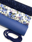 Blue White Floral Leatherette and Glitter Fabric Bundle - 3 A4 Sheets plus Navy Headband Pack
