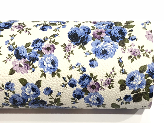 Blue White Floral Leatherette | A3 A4 A5 Sheet | 1.0mm Thick