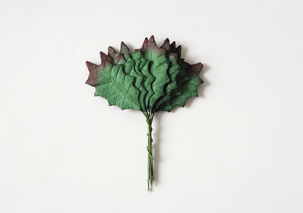 10 pcs  - Mulberry Paper Leaves -  Small Dark Green Holly Leaves