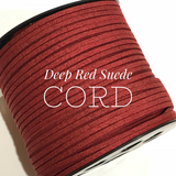 Deep Red Faux Suede Cord - 5m - Dark Red Suede Cord