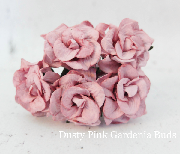 PRE ORDER 5pcs Dusty Pink  - Mulberry Paper Gardenia Buds - 30mm / 3cm