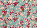 Floral Pink Roses in Pale Aqua Soft Leatherette Floral PU Leather A4 Sheet 210 x 297mm Floral Leather Bows Floral Leather Headbands