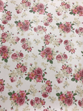 Floral Roses Print on White Faux Leatherette