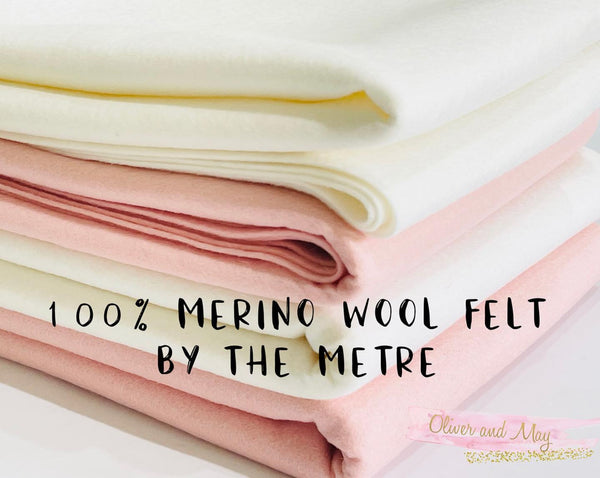 White Merino Wool Felt - No. 56 - Pure Wool Felt - 100% Wool Felt By The Metre or Sheet