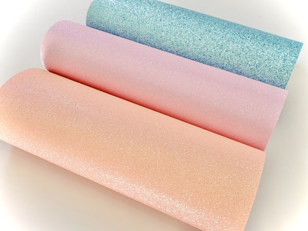 Fine Glitter Fabric Sheets - 0.6mm  - Peachy Pink, Baby's got Lilac and Pale Aqua