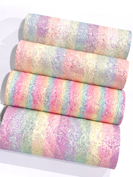 Rainbow Stripes Glitter Lace Fabric Sheets