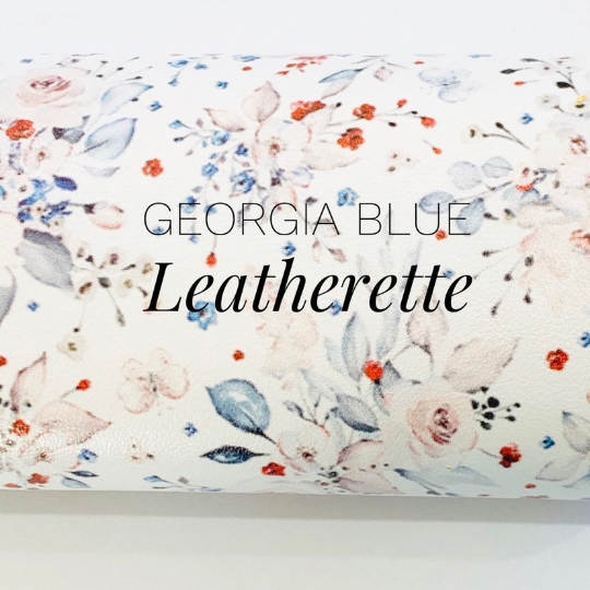 Georgia Blue Floral Faux Leatherette