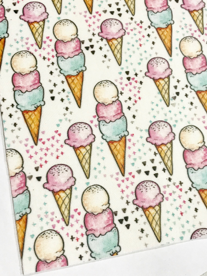 Ice creams Felt Backed Fabric Sheet