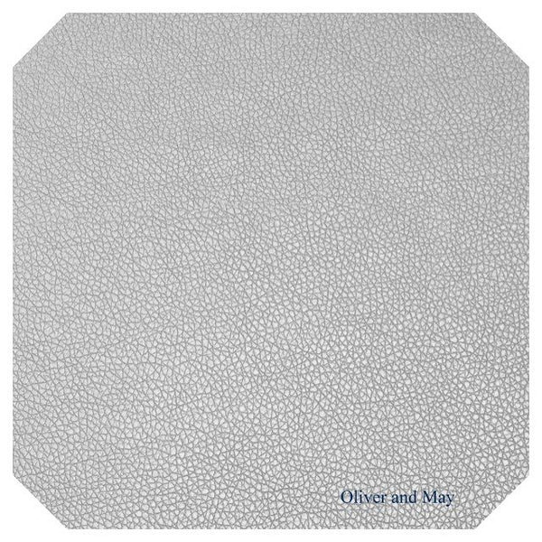 Thin 0.7mm Silver Grey Leatherette Sheet  A4 or A5 Size Silver Grey Faux Leather Fabric Small Lychee Pattern PU Leather Thin Leatherette