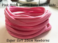 NEW Pink | Baby Pink Thin Nylon Headbands 6mm Thin 26cm Super Stretchy Baby Toddler Adult Bulk Nylon Headbands Wholesale AU Seller