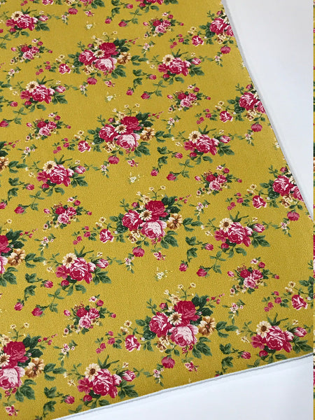Mustard Floral Print Faux Leather - Smooth Floral Print Leatherette A5 or A4 sheets