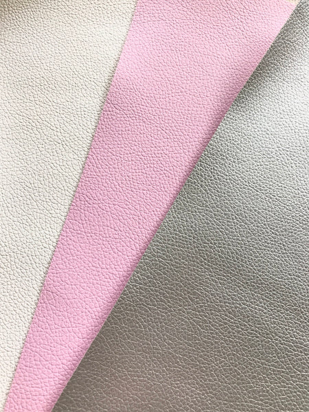 Silver White Lilac Pink 3 Pack Leatherette Sheets Thin 0.7mm A4 8X11 or A5 Size Faux Leather Fabric Small Lychee Pattern PU Leather