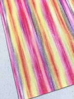 Fine Rainbow Glitter Leather Fabric Sheet Thin 0.5mm A4 Sheets Unicorns and Rainbows