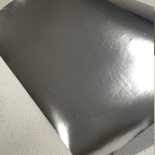 NEW STOCK Silver Mirrored Leatherette 0.7mm Thickness Mirror Silver Glossy Leather