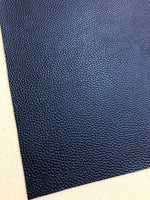 Pearl Navy Leatherette 1.2mm Thickness Lychee Print Blue Faux Leather Fabric Sheets