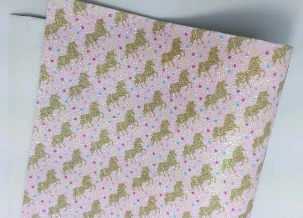 SALE Unicorn Kingdom Fine Glitter Fabric Sheets 0.9mm thickness - Golden Unicorns on Pale Pink background
