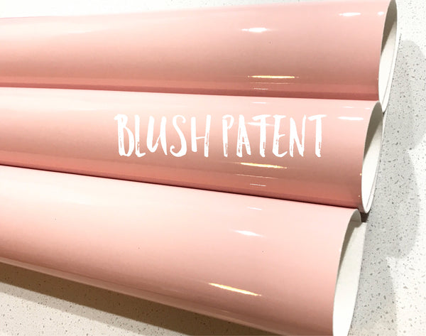 Blush Patent Leather A4 Sheet Glossy Smooth PU Leatherette Pastel Blush Pink Patent