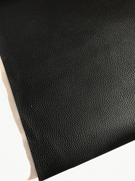 Thick Black Leatherette 1.2mm Thickness Lychee Print Black Faux Leather Fabric Sheets