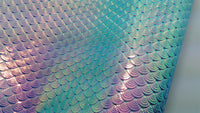 Mermaid Scales Leatherette Fabric Sheet - Blue