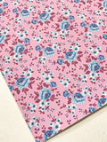 Strawberry Pink and Blue Floral Roses Soft Leatherette Floral PU Leather A4 Sheet 0.8mm