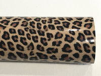 Leopard Tiger Print Vinyl Leatherette A4 Sheets - Tan