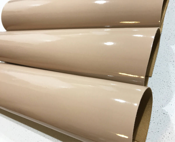 Latte Patent Leather A4 Sheet Glossy Smooth PU Dark Beige Leatherette