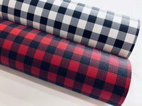 Plaid Leatherette Sheet 0.8mm Thickness A4 and A5 Size Faux Leather Fabric - Restock - Red and Black or White and Black Plaid