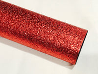 Red Pebble Leatherette A4 or A5 Sheets Metallic Red Faux Leather Fabric for Hair Bows Christmas