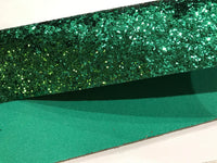 Green Matching Back Chunky Glitter Canvas Fabric Sheet 0.9mm Thick Chunky Christmas Glitter A4 Sheet