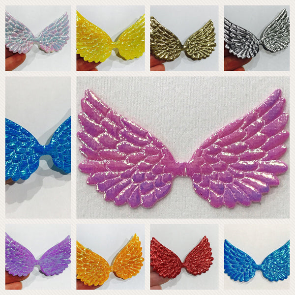 4 x Angel Wing Cabochon  Embellishments - Size Large 75mm x 45mm Metallic Iridescent Glitter Angel Wing Appliques