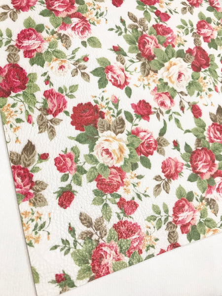 Red White Floral Leatherette Fabric Sheet