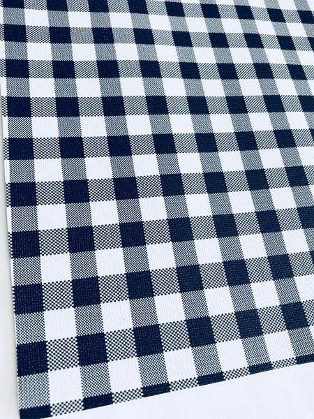 White Black Plaid Leatherette Sheet 0.8mm Thickness A4 Size Faux Leather Fabric