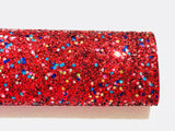 Red Christmas Magic Glitter Fabric Chunky A4 or A5 Sheets Christmas Glitter
