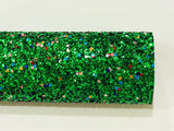 Green Christmas Magic Glitter Fabric Chunky A4 or A5 Sheets Christmas Glitter