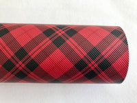 Red Black Tarten Leatherette Sheet 0.8mm Thickness A4 Size Faux Leather Fabric
