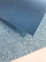 New Blue Velvet Double Sided Glitter Velvet Backed Fabric Sheets