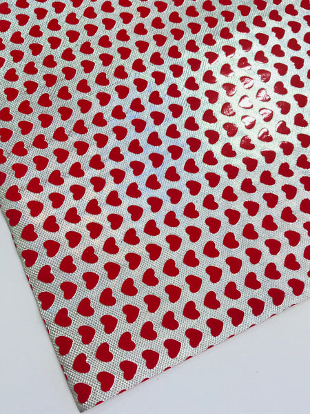 SALE Metallic Silver Red Hearts Faux Leather