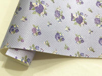 Lavender Floral Roses Printed Leather Fabric Sheets Floral PU Leather A4 Sheet 210 x 297mm Floral Leather Bows Floral Leather Headbands