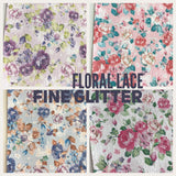 Floral Glitter Lace Fabric Sheet A4 - Glitter Lace