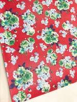 Red and Blue Floral Leatherette A4 Sheet