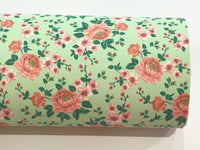 Mint with Pink Floral Roses Soft Leatherette Floral PU Leather A4 Sheet 0.8mm