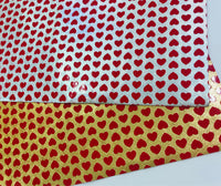 Metallic Gold Red Hearts Faux Leather