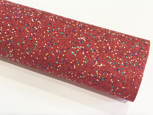 Red 100's & 1000's Fine Glitter Leather Fabric Sheet Thin 0.6mm